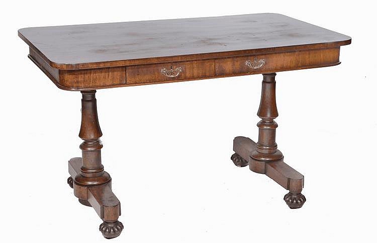 A 19TH CENTURY ROSEWOOD CENTRE TABLE fitted with