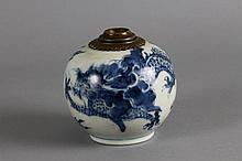 Kangxi Chinese Porcelain Blue & White Dragon Lamp