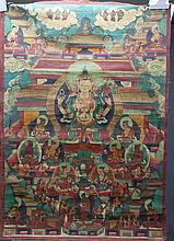 Chinese 16/17th century Signed Tibetan Thanka Chinese 16/17th century Signed Tibetan Thangka;;Avalokitesvara (Bodhisattva & Buddhist Deity) - Chaturbhuja (4 hands)depicting a central image of Buddha seated within a landscape, surrounded by other
