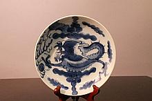 Chinese Transitional  Blue White Marked Dish
