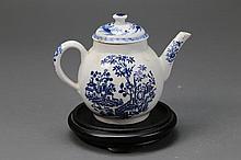 Blue and White Bow Porcelain Teapot c.1760