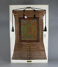 Antique Chinese Tibetan Framed Thangka Dated 1899