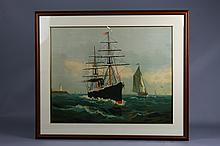 Entering Boston Harbor Lithograph Dated 1883
