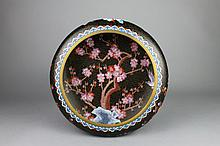 Vintage Chinese Cloisonne Black Ground Prunus Bowl
