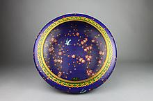 Vintage Chinese Cloisonne Cobalt Blue Prunus Bowl
