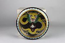 Chinese Cloisonne Black Ground Dragon Bowl
