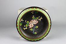 Vintage Chinese Cloisonne Black Ground Floral Bowl