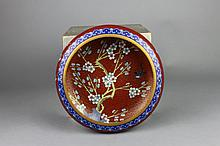 Vintage Chinese Cloisonne Red Ground Prunus Bowl