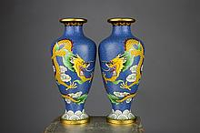 Pr.of Japanese Cloisonne Meiji Period Dragon Vases