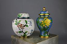Two Chinese Cloisonne Ginger Jar and Vase