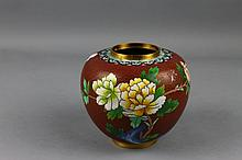 Chinese Cloisonne Red Ground Ginger Jar
