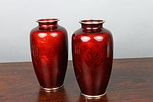 Pair of Base-Taille Japanese Red Cloisonne