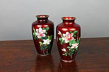 Pair Japanese Pigeon-Blood Cloisonne Silver Vases: