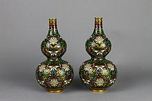 Pr. of Chinese Early 20th c. Cloisonne Gourd Vases
