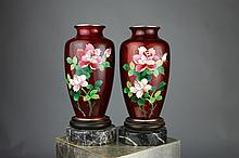 Pair of Japanese Cloisonne Vases on Marble Bases