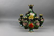 Six Black Ground Chinese Cloisonne Vases