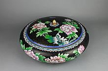 Vintage Chinese Cloisonne Floral Design Cover Bowl