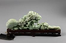 Chinese Jadeite Carving on Wood Base