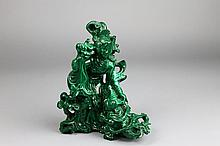 Beautiful Chinese Malachite Carved Figure