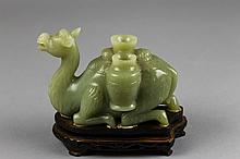 Chinese Jade Camel on Wood Base
