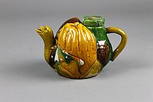 Chinese Sancai Glazed Figural Teapot