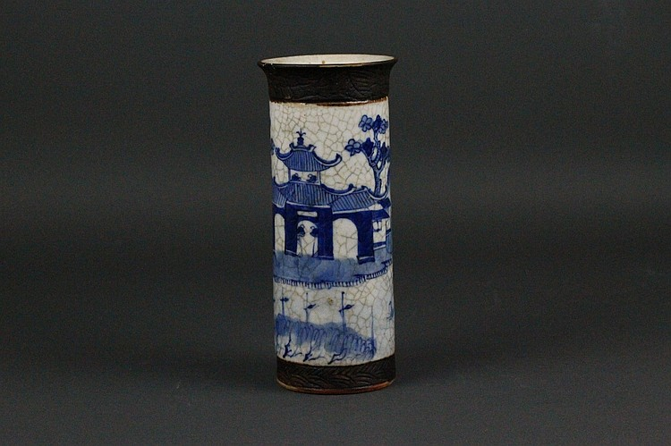 Chinese 19thc. Blue and White Crackle Glaze Vase