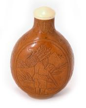 A CALABASH CARVED  FARMER SNUFF BOTTLE