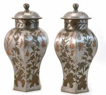 A PAIR OF PEWTER JARS WITH FLORAL CARVING - QING PERIOD