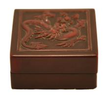 AN INKPAD BOX WITH DRAGON CARVING