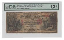 San Jose, CA - Ch. 2158 - $5 Original Series National Gold Banknote