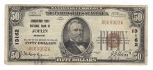 Joplin, MO - Ch. 13162 - 1929 $50 Type1