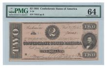 T70 1864 $2 Confederate Note