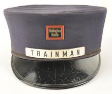 Burlington Route Trainman's Railroad Cap with Badge