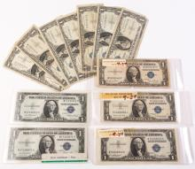 LOT OF 12 1935 & 1957 US $1 SILVER CERTIFICATES