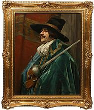 PORTRAIT OF CAVALIER WITH SWORD SIGNED 19TH C