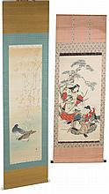 PAIR OF JAPANESE PAINTED HANGING SCROLLS SILK