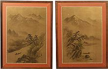 (2) PAIR JAPANESE WATERCOLOR ON SILK PAINTINGS