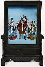 19TH C REVERSE PAINTING/GLASS SCREEN FU LU SHOU