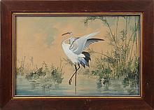 JAPANESE WATERCOLOR EGRET J AOKI