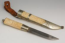 BONE HANDLE KNIFE AND SCABBARD