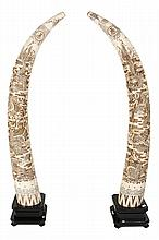 LARGE BONE OVER WOOD MONOCHROME FAUX TUSKS