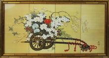ASIAN PRINT OF A CART WITH FLOWERS