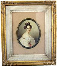 EUROPEAN MINIATURE PORTRAIT OF A LADY TO IVORY