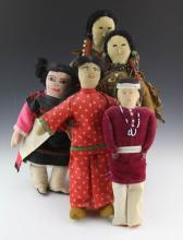 (5) HANDMADE NATIVE AMERICAN DOLLS