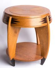 OAK GEOMETRIC STYLE TABLE WITH INLAY DETAILS
