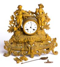 GILT SPELTER MANTLE CLOCK