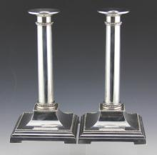 PAIR OF TIFFANY & CO STERLING CANDLESTICK HOLDERS