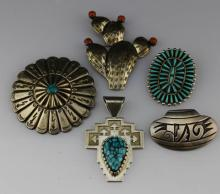 (5) MIXED NAVAJO ZUNI STERLING SILVER JEWELRY