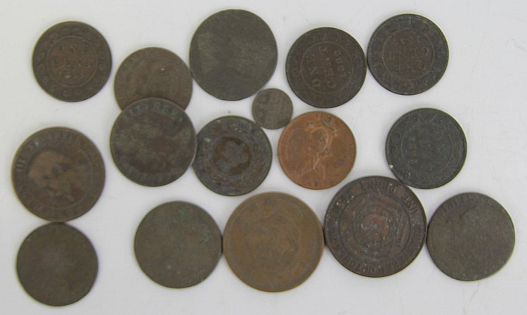 (16) FOREIGN COINS MAINLY 19TH CENTURY