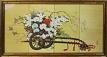 RICKSHAW WITH FLOWERS FRAMED PRINT